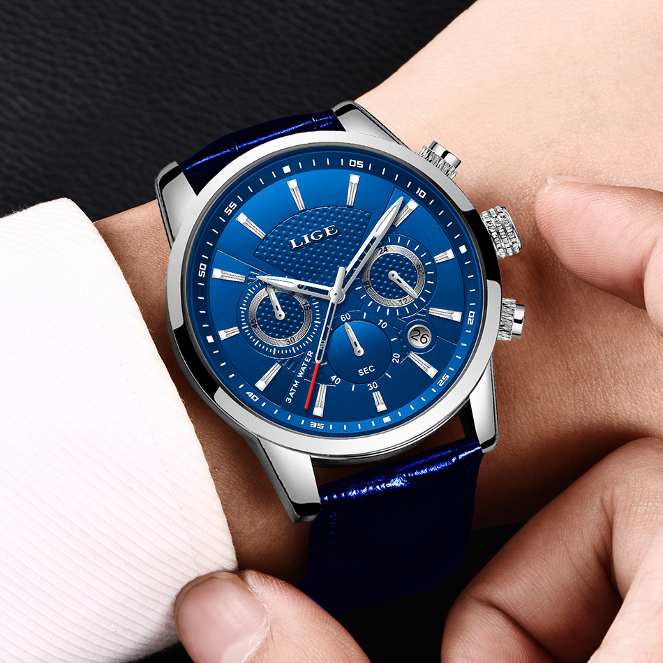 H6e8f44f031b54c0e97f1a8cfb328ba401 LIGE Fashion Mens Watches Top Brand Luuxury Blue Quartz Clock Male Casual Leather Waterproof Sport Chronograph Relogio Masculino