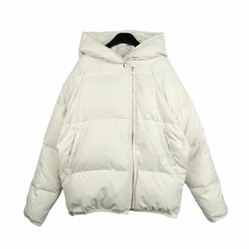 Koreański pluszowa kurtka z kapturem damskie zimowe luźne