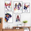 Красочные Животные Собака Холст Живопись Французский бульдог Лабрадор Сен Бернар постер абстрактная стена искусство холст картины декор и...