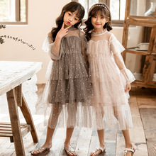 2020 spring and summer new star net yarn girl dress trembling explosion girl princess dress