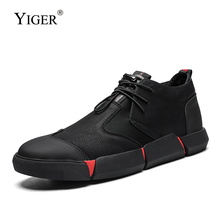 YIGER Men causal shoes large size new leather man loafers sneakers British dress lace-up male leisure 0355
