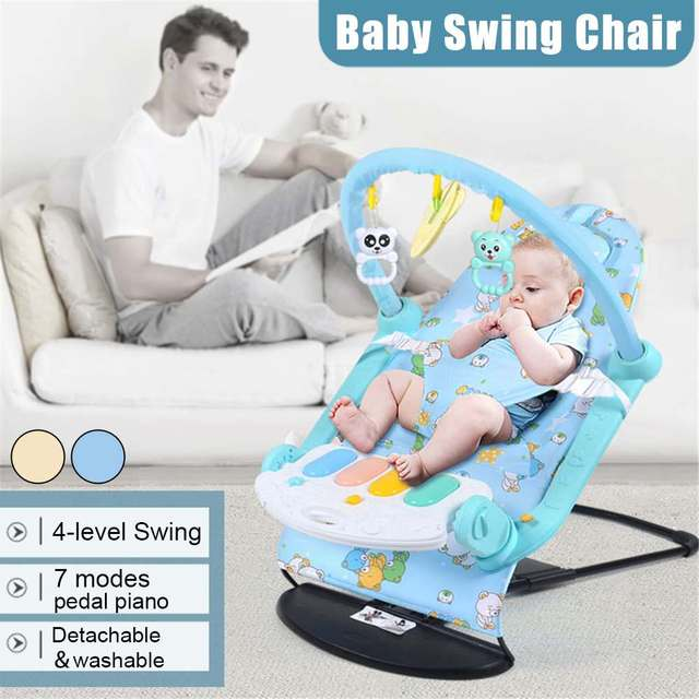 Baby Rocking Chair Multi-function 7 modes pedal piano Music Swing Chair Infant Comfort Newborn Folding Rocker Baby Product 2