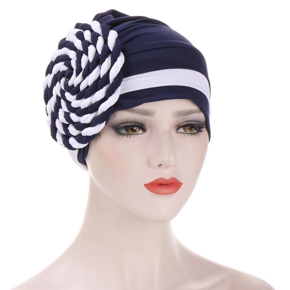 Модная мусульманская двухцветная оплетка хиджаб шапка женская