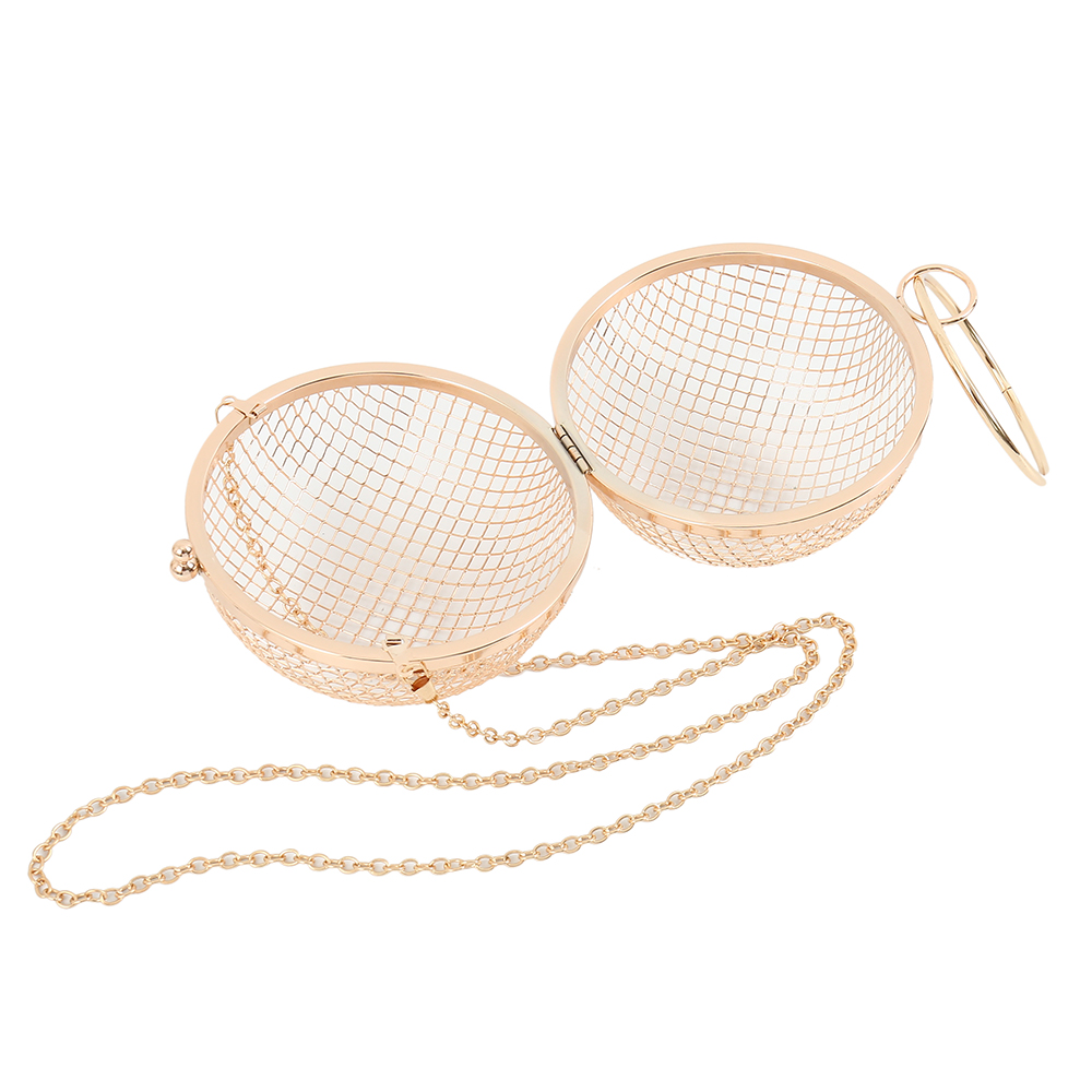 2019 Hollow Metal Ball women shoulder bag gold Cages Round Clutch Evening Ladies Luxury Wedding Party CrossBody Purse handbag in Shoulder Bags from Luggage Bags