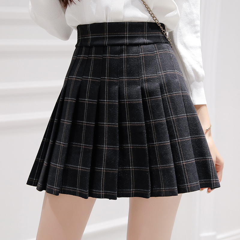 Autumn WOMEN'S Dress Short Skirt High-waisted Pleated Skirt 2019 Autumn And Winter New Style Skirt Large Size A- Line Plaid Shor