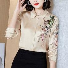 Camisetas de seda coreana para mujer, blusas de satén, camisas de manga larga, camisa de seda satinada, moda XXL 2020