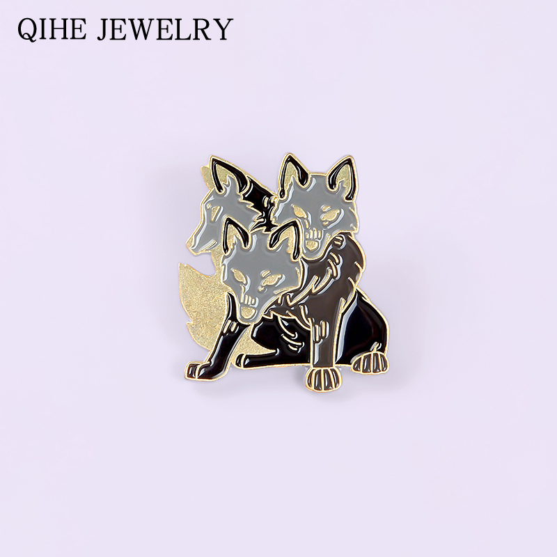 Cerberus Enamel Pin Three Headed Wolf Badge Bag Clothes Lapel Pin Mythical Animal Brooch For Women Men Fashion Jewelry Gifts(China)