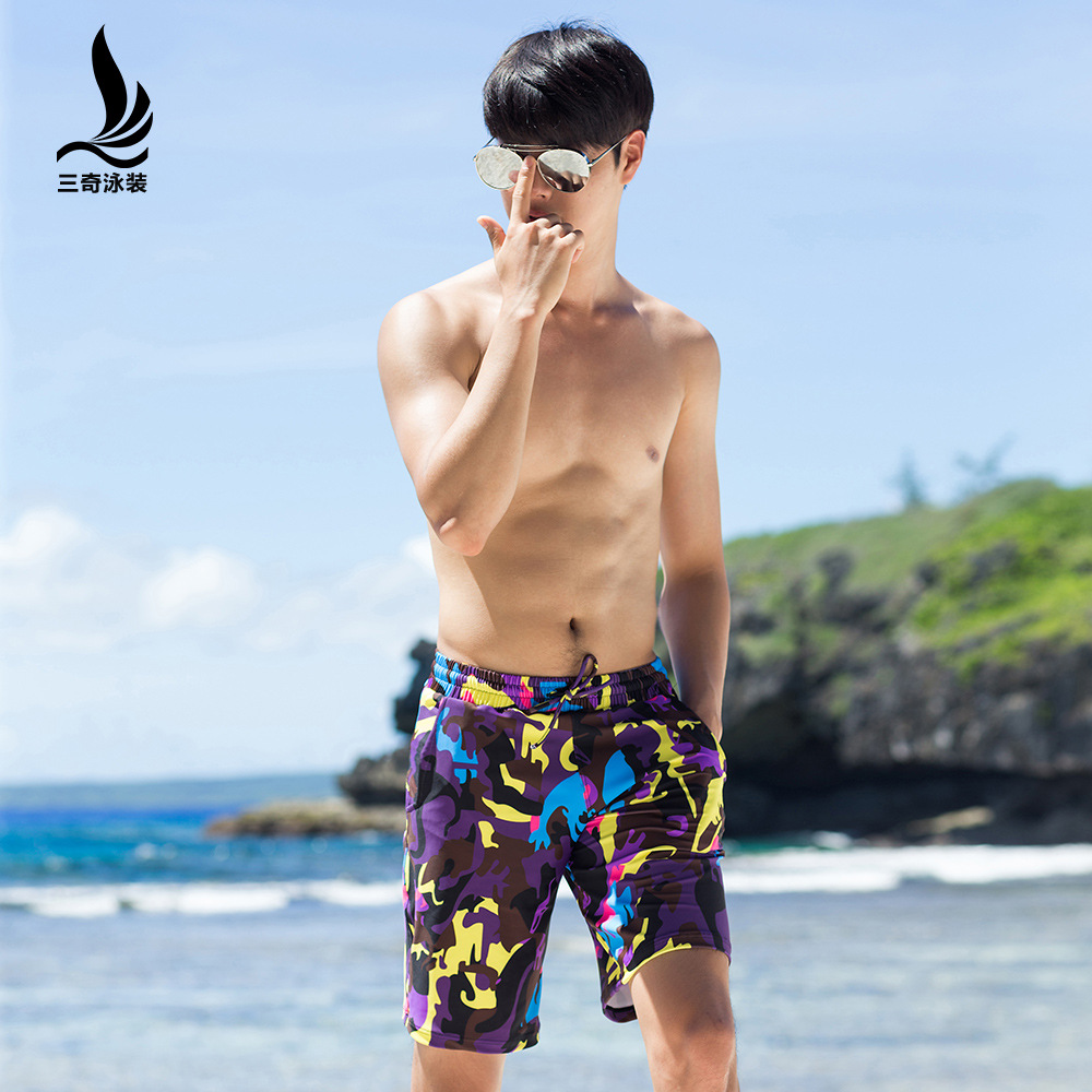 Manufacturers Direct Selling Sanqi Plus-sized Menswear Breathable Loose Boxer Casual Short Swimming Trunks Seaside Holiday Beach