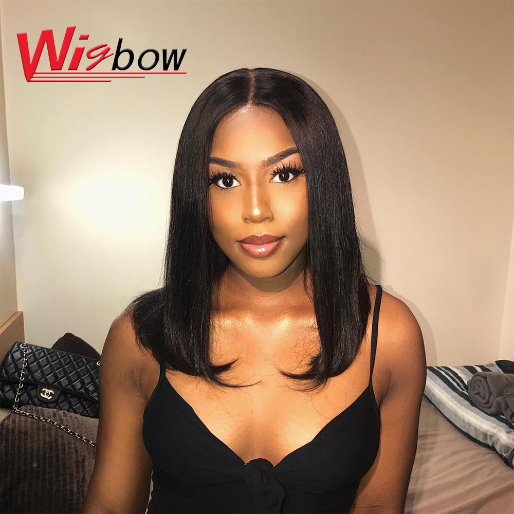 14 Inch Straight Short Bob Wig 13*4 Lace Frontal Straight Human Hair Wigs Peruvian Remy Human Hair Wigs With Swiss Lace Frontal