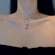 MENGJIQIAO koreański elegancki metalowe okrągłe Choker łańcuszek biżuteria dla kobiet dziewczyn moda fioletowy kryształ motyl naszyjnik Bijoux