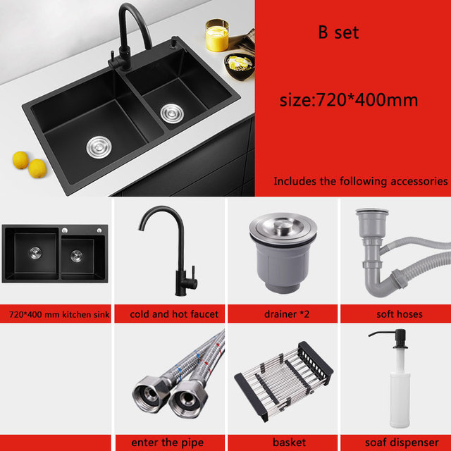 Black Kitchen Sink Double Groove