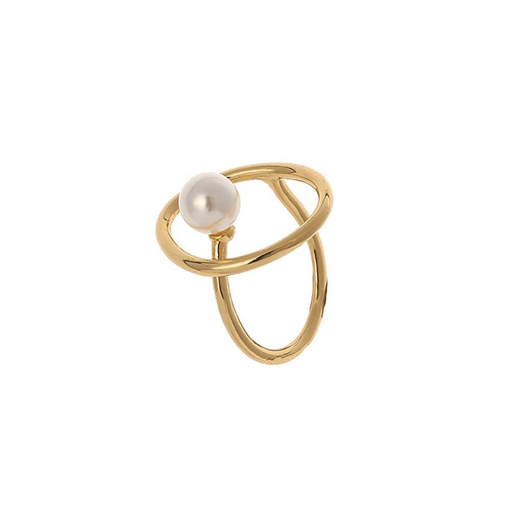 Yhpup แฟชั่นเกาหลีแหวน Minimalist เทียมไข่มุกผู้หญิงเรขาคณิตแหวนสำหรับ Office PARTY ทองแดงทอง