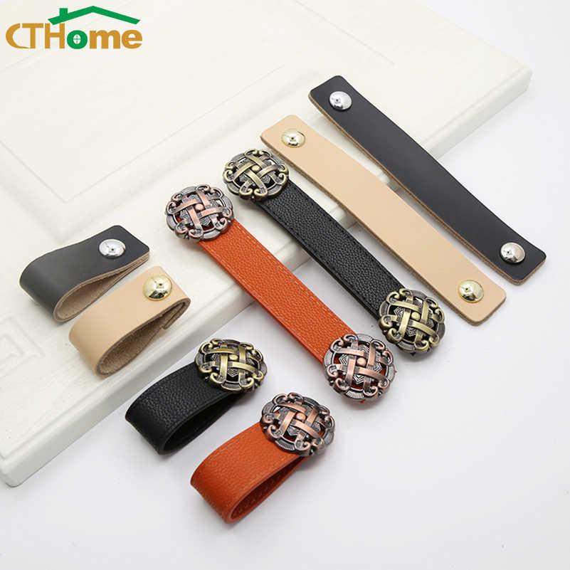 Moden basit mobilya dolap dolap kapağı siyah deri kolu çekmece çeker ekipmanları dolap mutfak kapı kapı topuzu ve kolları