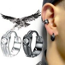 Personnalité noir/argent plaqué aigle plume boucles d'oreilles Style Punk Cool hommes femmes boucles d'oreilles Hip Hop bijoux cadeaux de fête