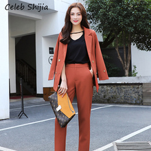 SHIJIA Woman's two-piece suit sets solid notched collar blaz