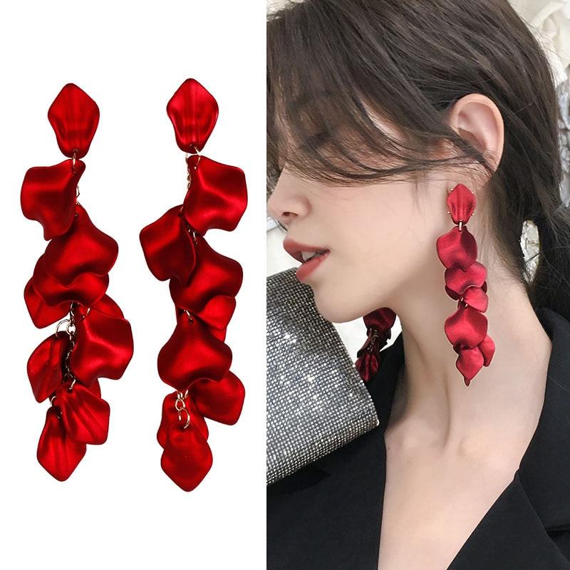 XIYANIKE 2019 New Arrival Vintage Women Dangle Earrings Sexy Rose Petal Long Tassel Earrings Female Korean Jewelry Red Earrings