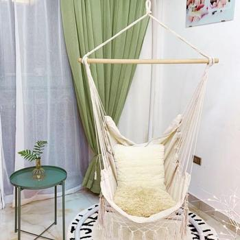 150kg Hammock Garden Hang Lazy Chair Swinging Indoor Outdoor Furniture Hanging Rope Chair Swing Chair Seat bed Travel Camping cotton rope garden swing chair thicken portable hammock with foot pad wooden indoor outdoor swing relax camping hang chair seat