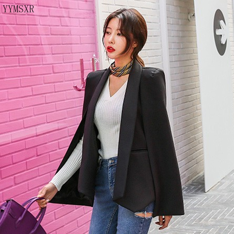 Autumn and winter 2020 Korean version of the new stitching mid-length slim shawl cape suit jacket women Feminine blazer