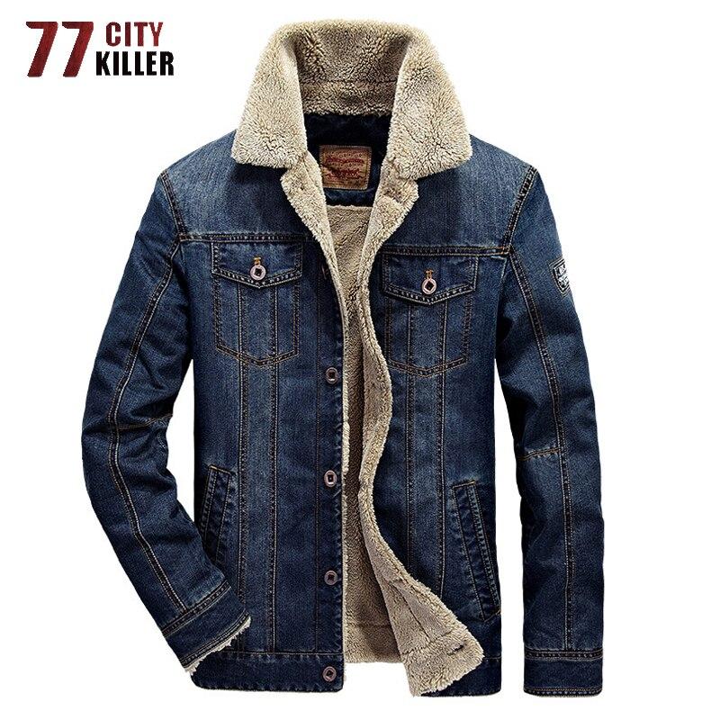 Plus Size Fashion Denim Jacket Men Winter Thick Wool Liner Warm Mens Jacket Outwear Windbreaker Jeans Coats Male Cowboy Clothing