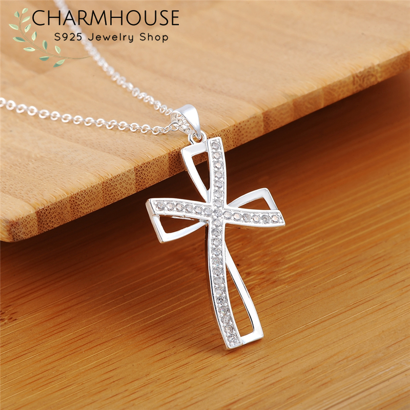 925 Sterling Silver Necklaces For Women Zirconia Cross Pendant & Necklace Chain Collier Femme Wedding Bridal Jewelry Party Gifts