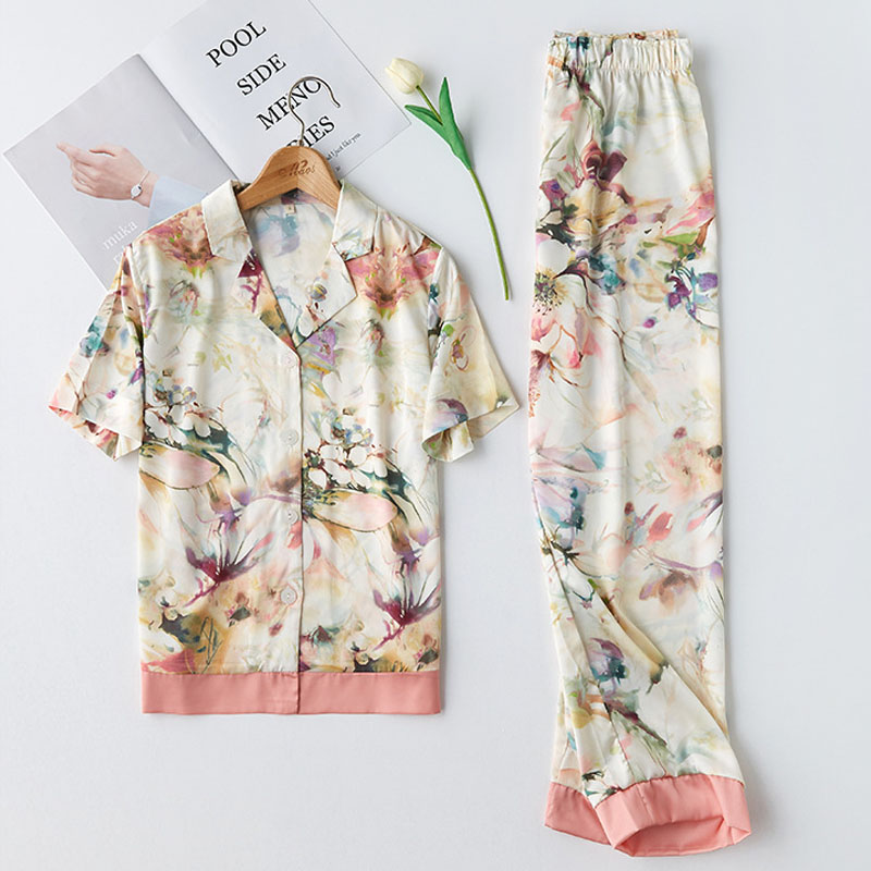 fashion top women   pajamas   2 pieces watercolor print turn-down collar home sleepwear female   pajamas     sets   satin home service