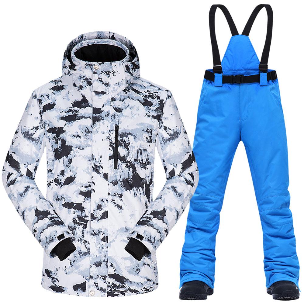 Лыжный костюм для мужчин, зимняя теплая водонепроницаемая ветрозащитная одежда, зимние штаны и лыжная куртка, Мужской комплект, лыжные и сн...