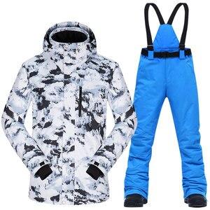 Image 1 - Ski Anzug Männer Winter Thermische Wasserdicht Winddicht Kleidung Schnee Hosen und Ski Jacke Männer Set Skifahren und Snowboarden Anzüge Marken