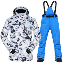 Tuta da sci Degli Uomini di Inverno Termica Impermeabile Antivento Vestiti di Neve Pantaloni e Giacca Da Sci Degli Uomini di Set di Sci e Snowboard Vestiti Marche