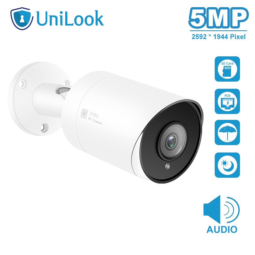 UnilLook 5MP Bullet IP Camera Onvif POE Built-in Microphone SD Card Slot(optional) IR 30m Security Camera Outdoor IP 66 H.265