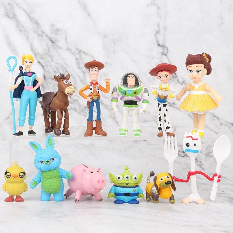 12pcs/lot Disney Toy Story 4 Woody Buzz Lightyear Jessie Forky Lotso Bullseye Horse Cartoon Action Figure Dolls