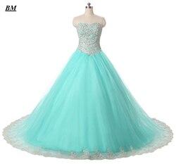 2019 Nova Lace Tulle Vestidos Quinceanera vestido de Baile Beading Doce 16 Vestidos Formal Partido Prom Vestido Vestido De 15 Anos BM51