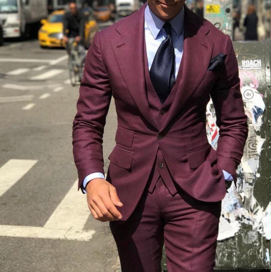 Pieces Groomsmen Vest Formal Fit Suits For Wedding  Male Pants Bridegroom Classy Slim Tuxedos Jacket Business Suit  Cheap  Men 3