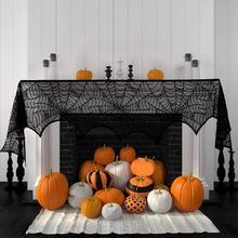 Halloween Decoration Black Lace Spiderweb Fireplace Mantle S