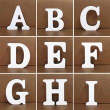 Branco de madeira inglês alfabeto letras número diy personalizado scrapbooking casa decoração artes artesanato letra digital 10cm