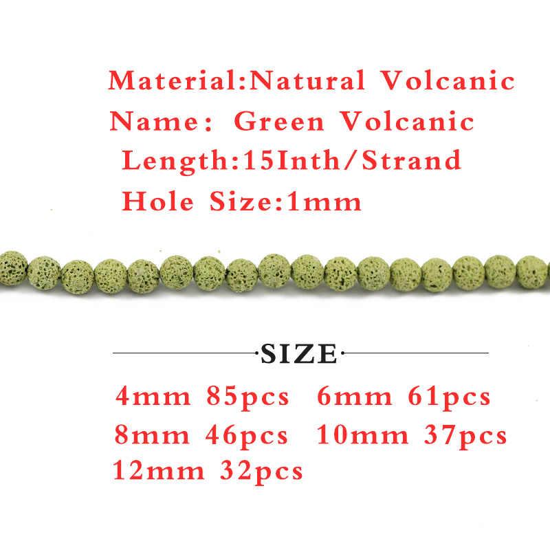 天然石グリーン火山溶岩ビーズロックラウンドルーズスペーサビーズジュエリーメイキングのために 4/6/8/10/12 ミリメートル diy ブレスレットアクセサリー