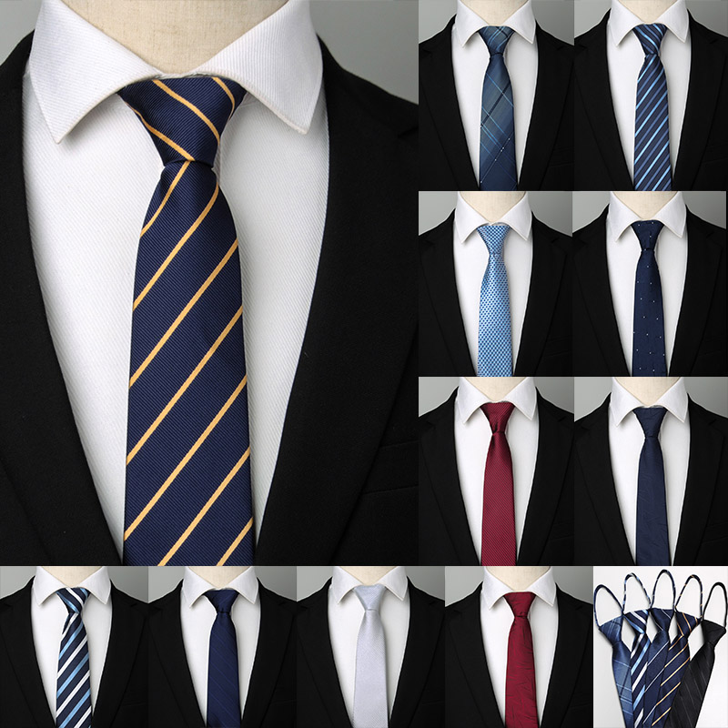 1200 Pins 8*48cm Men's Zipper Tie Easy To Pull Rope Neckwear Business Suit  Job Interview Necktie Wedding Party Gift For Man