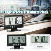 Large Screen Digital Alarm Clock LCD Clock Multifunction Snooze Display Time LCD Voice-activated Calendar Clock