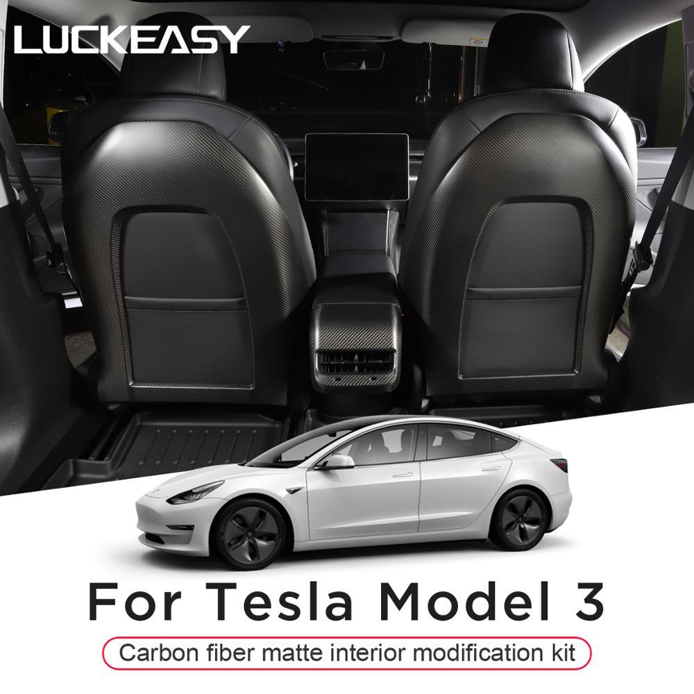 LUCKEASY pour Tesla modèle 3 bouton de fenêtre/commande centrale/interrupteur de verrouillage de porte patch intérieur complet (carbone mat) 27 pièces/ensemble