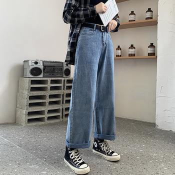Jeans Women Solid Vintage High Waist Wide Leg Denim Trousers Simple Students Wide Leg Jeans Women trousers streetwear pants tie waist flare hem jeans women denim trousers vintage ladies clothes fall high waist pants belted stretchy jeans wide leg jeans