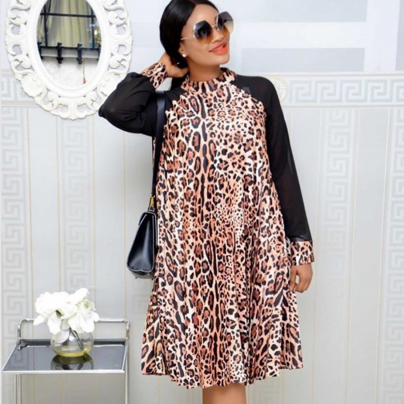 2019 Leopard African Dresses For Women African Clothes Africa Dress Dashiki Ladies Clothing Ankara Africa Dress