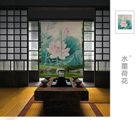 Ink painting curtain Chinese lotus flower window blind water Japanese half curtain cotton and linen curtain porch decoration