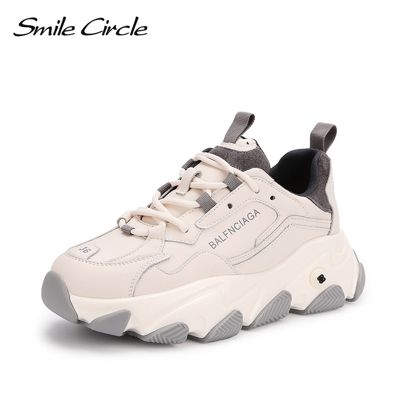 Smile Circle Women Sneakers Wedges Flats Platform Shoes Fashion Spring Thick Bottom Round Toe Lace-up Casual Ladies Sneakers