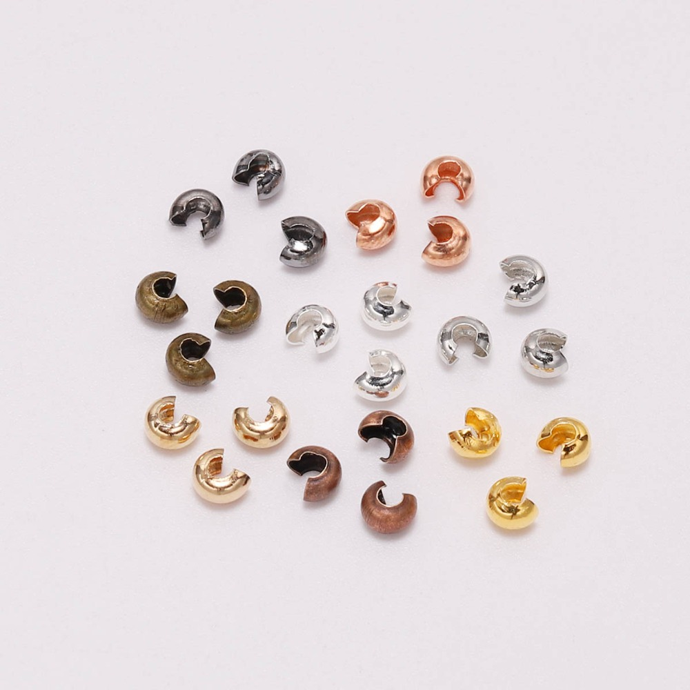 100pcs/lot Silver Copper Round Covers Crimp End Beads Dia 3 4 5 Mm Stopper Spacer Beads