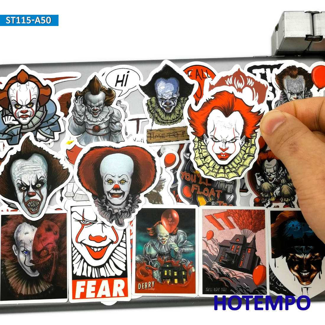 50pcs Terror Joker Ghost Movie IT Horror Style Clown Anime Stickers For Mobile Phone Laptop Luggage Pad Skateboard Bike Stickers