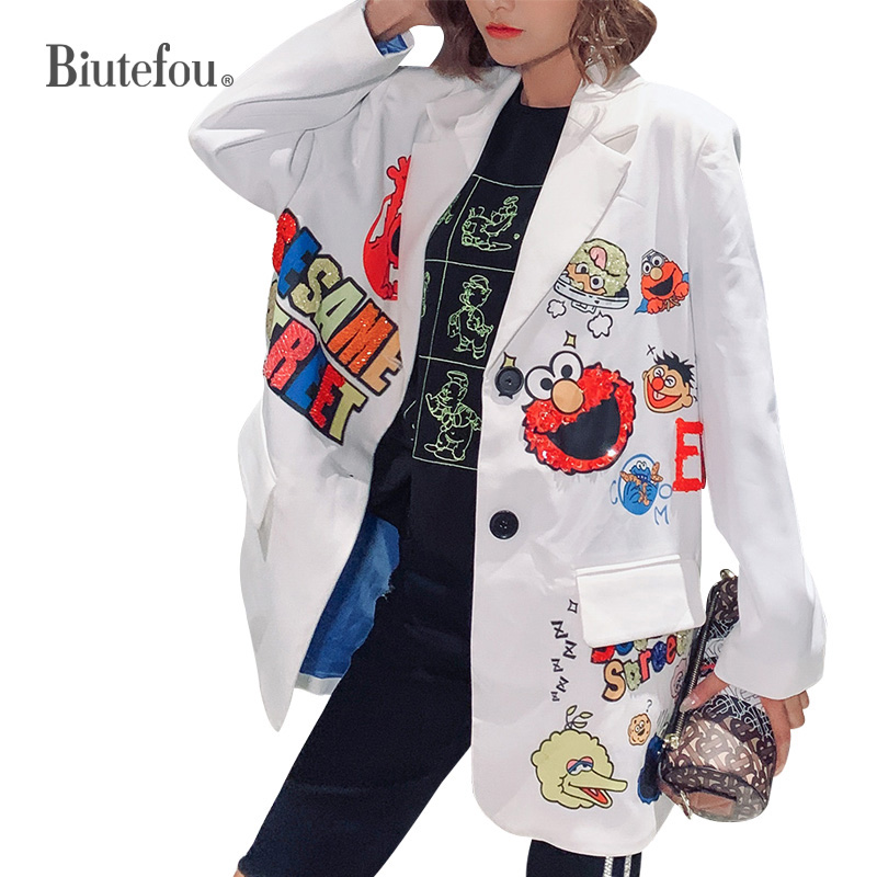 2019 Autumn Fashion Sequins Blazers Women Cartoon V-neck Bf Long Jackets