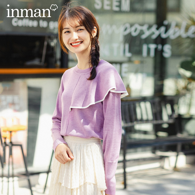 INMAN 2020 Spring New Arrival Sweet Style Round Collar Irregular Lotus Decoration Women Pullover Sweater