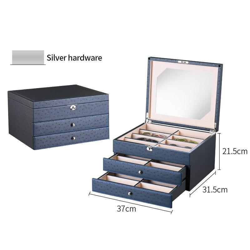 Роскошная коробка для очков 24 солнцезащитные очки коробки для хранения для очков Органайзер витрины для ювелирных украшений высококачественная искусственная кожа - Цвет: Deep Blue w Silver