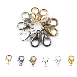 50 pçs/lote 10/12/14mm metal lagosta fecho ganchos conectores fim fechamento de corrente para fazer jóias diy colar pulseira acessórios