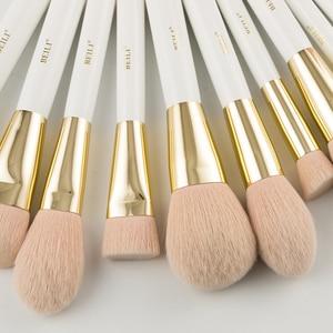 Image 5 - Набор кистей для макияжа BEILI, Профессиональные синтетические, жемчужные, белые, золотые, для основы под макияж, консилера, бровей, для веганов