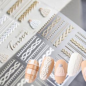 1 штука; Зимний вязаный свитер одежда с 5D ногтей Наклейка гравированные тиснением клей для накладных ногтей наклейки на новый год подарок на...